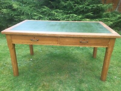 1930's/40's VINTAGE OAK TWO DRAWER DESK/TABLE with inlaid green leather top
