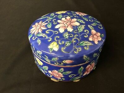"""Pretty 6&3/8"""" Wide Blue Bowl With Pink & Yellow Oriental Style Flowers With Lid"""