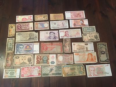 Mixed used world banknote collection LOT 5 India Korea Japan Angola 30 pieces