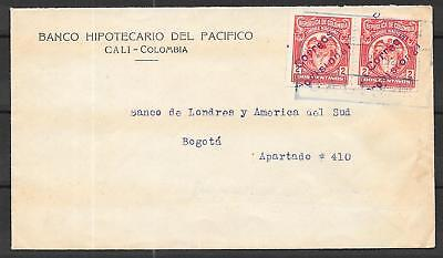Colombia covers1925 Scott 387 Ovpt Correos Provisional on 2c Pair Bankcover RARE