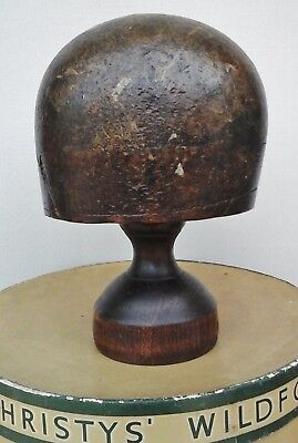 Original Victorian Wooden Hat Block/Form & Stand, Millinery Display. Collectable