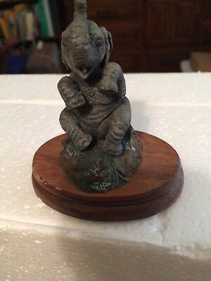 Elephants The Bronze Menagerie 1985 on Wood Base
