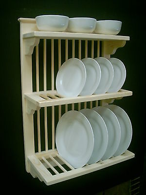 WOODEN  PLATE RACK HANDMADE BY CRAFTSMAN STD 3SH 11+9 WALL MOUNTED Post & p inc'