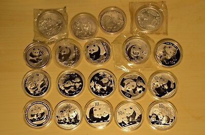 1989 1990 1995 1997 2000-2013 1oz Silver China Panda Bullion Coin Set (19 coins)