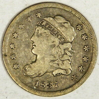 1837 Bust Half Dime - Nice Bold Fine/vf - Priced Right!
