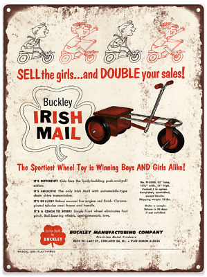 1955 Buckley Irish Toy Car Ad Advertising Baked Metal Repro Sign 9x12 60176
