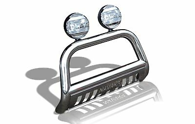 To Fit 2016+ Nissan Navara NP300 Stainless Steel A Bar Bull Bar + Spot Lamps