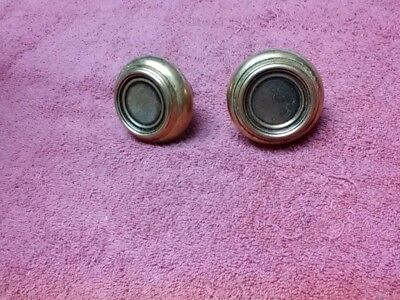 Old door knob pair! Round brass! Nice pair of knobs, little patina, no bar!
