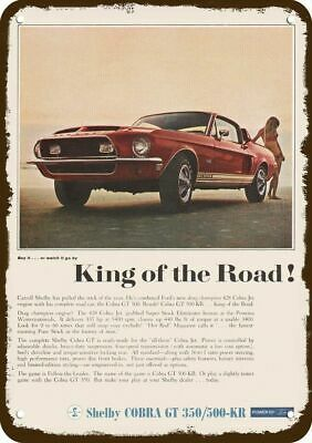 1968 FORD MUSTANG BLUE SPORTS CAR Vintage Look Replica Metal Sign MUSTANG PLEDGE