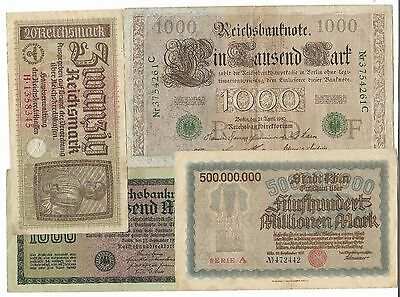 Germany - 4 Old Banknotes.