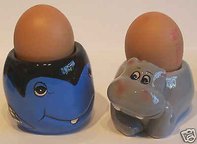 Novelty Egg Cup Ceramic Hippo Or Damselfish Child'S Single Or Sets