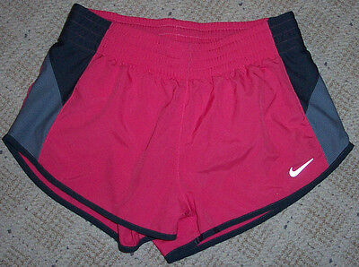 Womens NIKE DRI-FIT Pink Gray Lined Athletic Shorts Size Small S Running Track