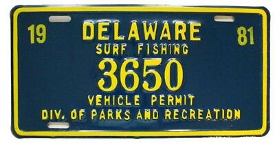 Vintage Unused NOS Delaware 1981 Embossed Surf Fishing Permit License Plate 3650