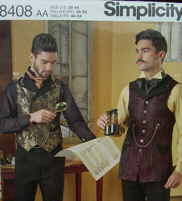 Mens sewing pattern for vintage Victorian Edwardian Steampunk shirt vest uncut