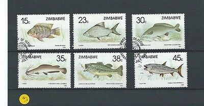 Nice set of used stamps from Zimbabwe.1989  Fishes (1st series) SG 756-61