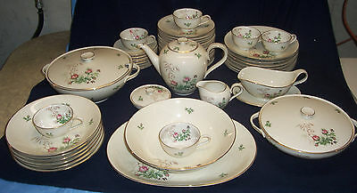 H&C Heinrich Anmut 70 Pc Moss Rose Table Place Set Plate Cup Dish Serving Bowl