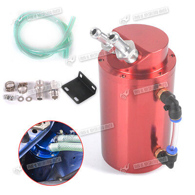 Oil Catch Can 9mm Fittings Universal Breather Tank Round Red Anodised Turbo