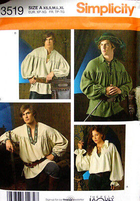 Mens or Womens Pirate Renaissance Ren Fair shirt pattern sizes S - XL uncut