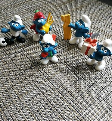 Vintage Smurf Schleich Toy Lot 1960's - 1970's Bag pipes Soccer Smurf (C1)