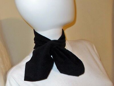 Black Two Point Fleece Scarf Neckerchief USA Small Adult Tween Youth 4inx26in