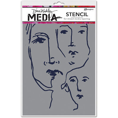 "Dina Wakley Media Stencils 9""X6"" Scribbled Faces MDS-54450"