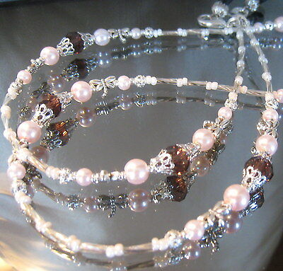 SPECTACLE/GLASSES/EYEWEAR BEADED CHAIN /HOLDER–Pink Pearl & SilverDragonfl(S403)