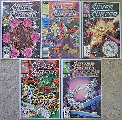 Silver Surfer #9,#11-14 Marvel Comics (5) Comic Run Copper Age 1988 Avg VF+