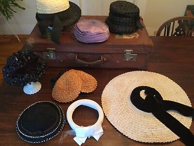 Lot of 7 Woman's Hats Vintage mid century with boxes