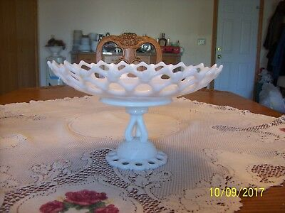White Opaque Milk Glass Vintage Footed Lace Pattern Large Centerpiece Compote