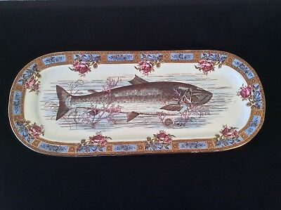 ANTIQUE GARFIELD AESTHETIC POTTERY FISH PLATTER PINK ROSES SEA LIFE Rd NO 8844