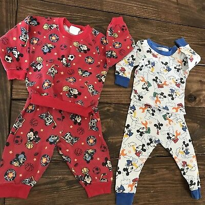 Vintage Disney Mickey Mouse Lot Red Sports Sweatsuit White Thermal 24 Months 2T
