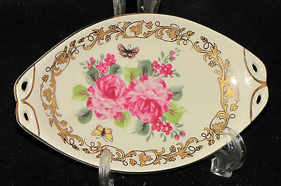 Lovely, Oblong Gold Trimmed Cream Pink Roses Handled Pin Porcelain China Dish.