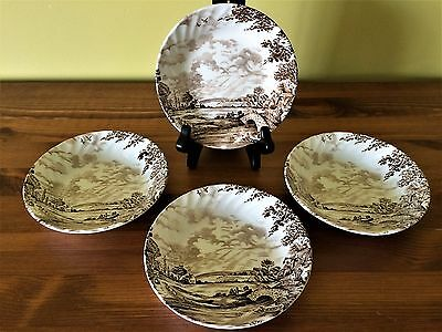 Ridgway 'Country Days' Staffordshire Set of 4 Small Bowls in Brown - Nice!