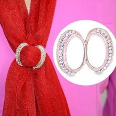 Women Scarf Clip Crystal Straight Brooches Exclusive Design Shawls Decorations