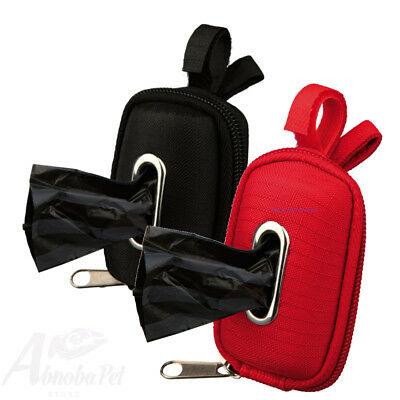 Dog Dirt Poo Bag Dispenser + Bags, polyester cover Velcro strip - attach to lead