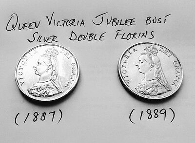 Queen Victoria Jubilee Bust 1887 & 1889 Solid Silver English Double Florins