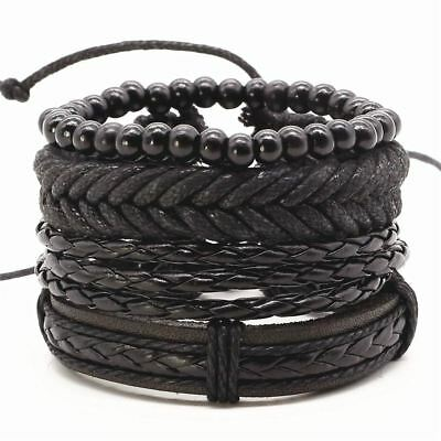 Men Bracelet Leather Rope Chain Woven Bead Bangles Rock Party Jewelry Gift Sale
