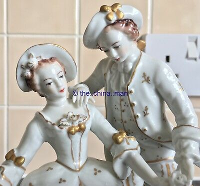 SITZENDORF porcelain GERMAN FIGURINE GROUP of georgian MAN & WOMAN & DOG