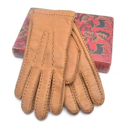 Stylish Genuine Vintage Tan Leather Stitched Mens Gloves s7.5