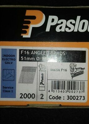Paslode F16 Galvanised 1.6 x 51mm Angled  Brads Nails & Twin Gas Fuel Cell Pack
