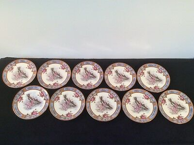 ANTIQUE GARFIELD AESTHETIC POTTERY SET 10 FISH PLATES ROSES SEA LIFE Rd No 8844
