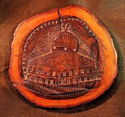 Jerusalem Carved Olivewood Plaque- Dome of the Rock/Temple Mount Souvenir c.1890
