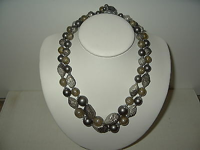 Vintage 2 Strand Silver Gray Colored Beads Necklace