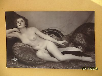Original 1910's-1920's Postcard Nude Risque Sexy Lady Laying On Cushions #142