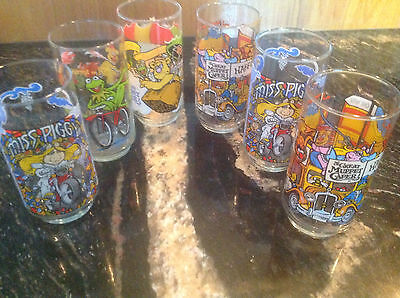 6~Vintage McDonald 1981 The Great Muppet Caper Drink Glasses Collection~MinT