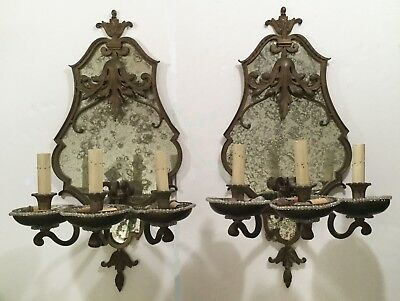Antique wall sconces. Bronze, early 20th cent. Smoked glass. Hearst Castle style