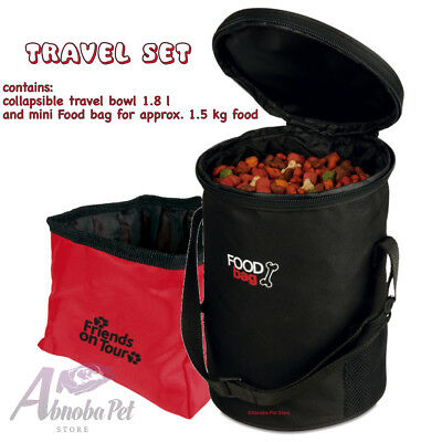 Trixie Dog Travel Set collapsible travel bowl 1.8l & Mini Foodbag Approx 1.5kg
