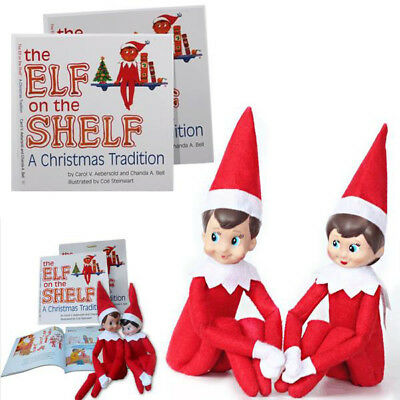 The Elf Boy&Girl On The Shelf With Book Plush Dolls Kid Christmas Gift Toy 3PCS
