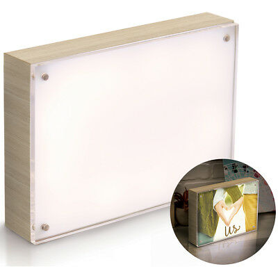 "We R Photolights Backlit Wood Finish W/Acrylic Frame 5""X7"" Natural WR663029"