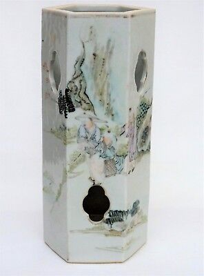 Antique Chinese Famille Rose Porcelain Hat Stand Vase w Calligraphy